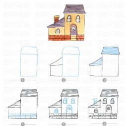 【转】彩色小房子简笔画