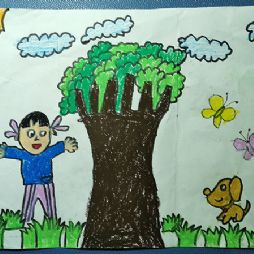 美术课家庭作业(20190922)大树,女孩和小狗狗