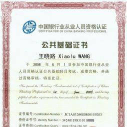 银行从业人员资格认证公共基础科目证书