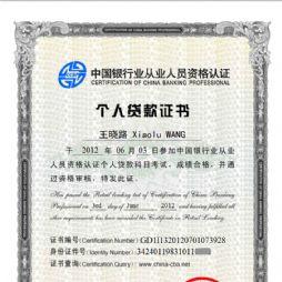 银行从业人员资格认证个人贷款科目证书