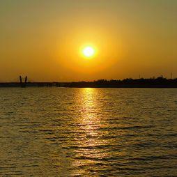 淠河与赤壁路桥-夕阳西下(20200412)
